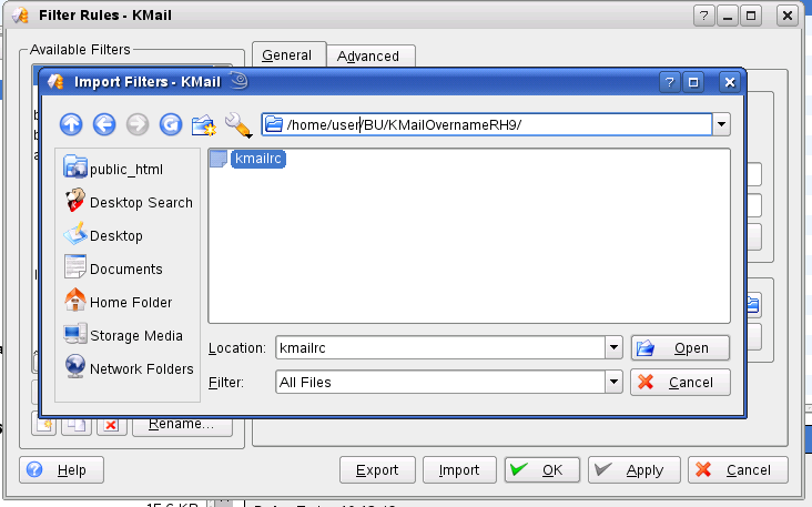 KMail filter import detail