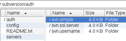 svn in user home dir